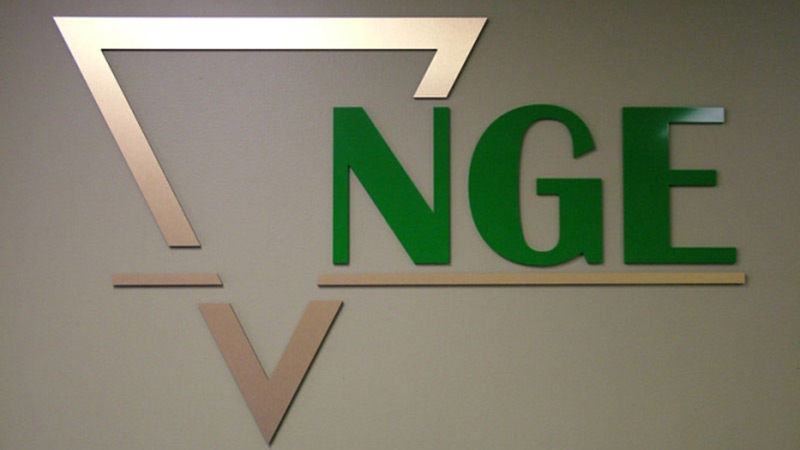 NGE lobby sign, lobby, business sign, plastic and metal letters, custom sign, welcome sign, interior sign
